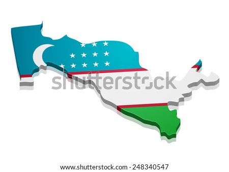 detailed illustration of a map of Uzbekistan with flag, eps10 vector - stock vector