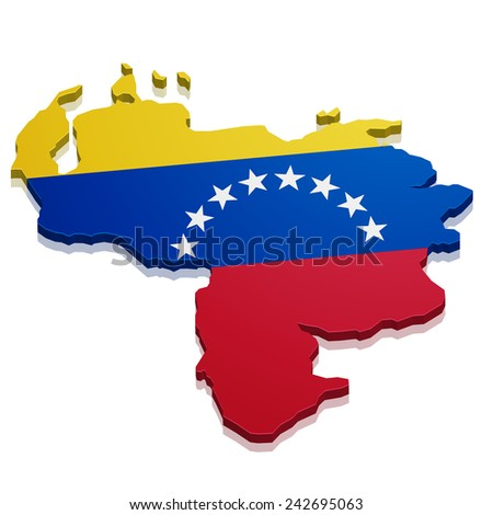 detailed illustration of a map of Venezuela with flag, eps10 vector - stock vector
