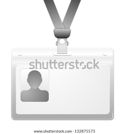 detailed illustration of a name badge with photo frame, eps10 vector - stock vector