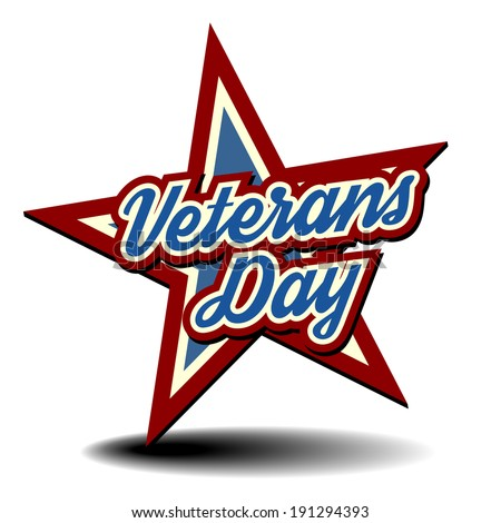 detailed illustration of a patriotic star with Veterans Day text, eps 10 vector - stock vector
