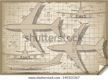 Detailed illustration of a Plane Project in Five Orthogonal views - stock vector