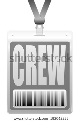 detailed illustration of a plastic crew badge with barcode - stock vector