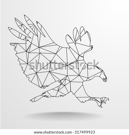 detailed illustration of a polygonal eagle, eps10 vector - stock vector