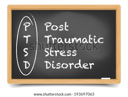 detailed illustration of a PTSD term explanation on a blackboard, eps10 vector, gradient mesh included - stock vector