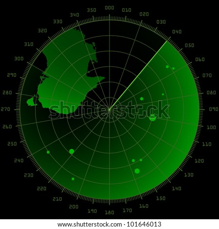 detailed illustration of a radar screen with targets and landmass - stock vector