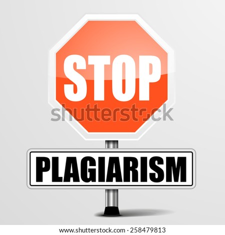 detailed illustration of a red stop Plagiarism sign, eps10 vector - stock vector