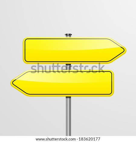 detailed illustration of a roadsign with two empty pointers showing in different directions, eps10 vector - stock vector