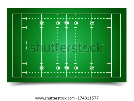 detailed illustration of a rugby field, eps10 vector - stock vector