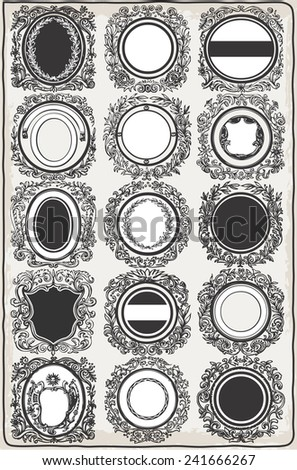 Detailed illustration of a Set of Vintage Graphic Garlands for Logos - stock vector