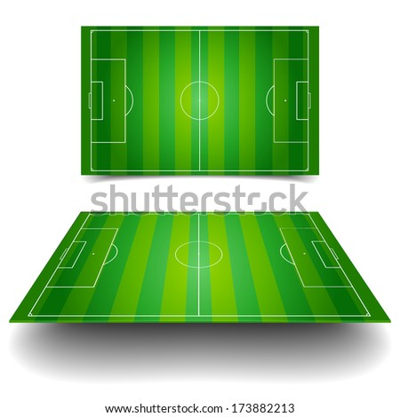 detailed illustration of a soccer field with different perspectives, eps10 vector - stock vector