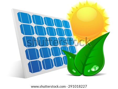 detailed illustration of a solar cell panel with green leafs and sun, eps10 vector - stock vector
