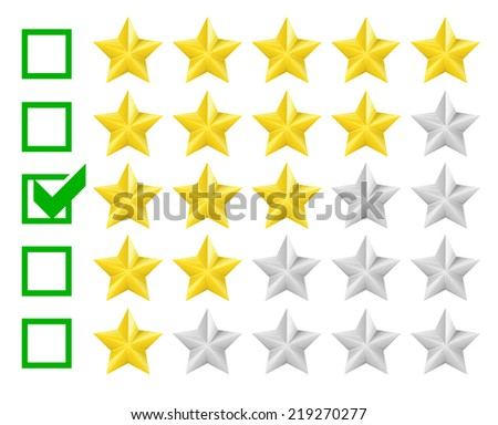 detailed illustration of a star rating system with checkbox at three stars, eps10 vector - stock vector