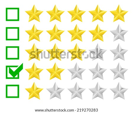 detailed illustration of a star rating system with checkbox at two stars, eps10 vector - stock vector