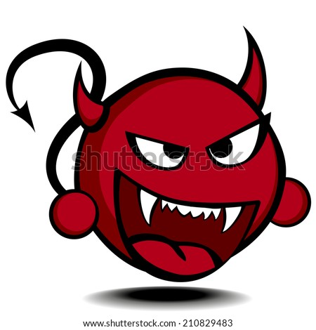 detailed illustration of a stylized red devil, eps10 vector - stock vector