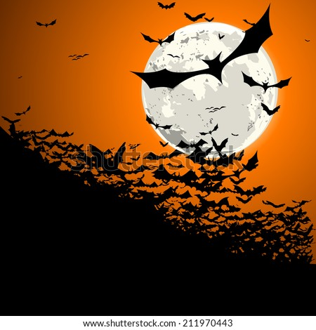 detailed illustration of a swarm of bats in front of a full moon, eps10 vector - stock vector