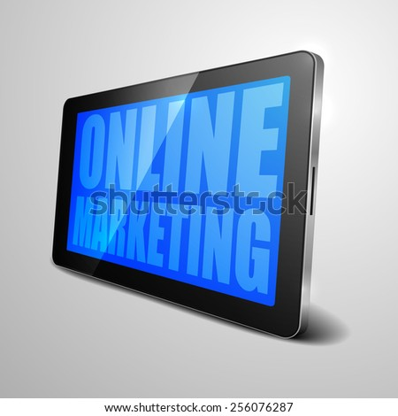 detailed illustration of a tablet computer device with Online Marketing text, eps10 vector - stock vector