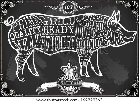 Detailed illustration of a Vintage Blackboard Cut of Pork - stock vector