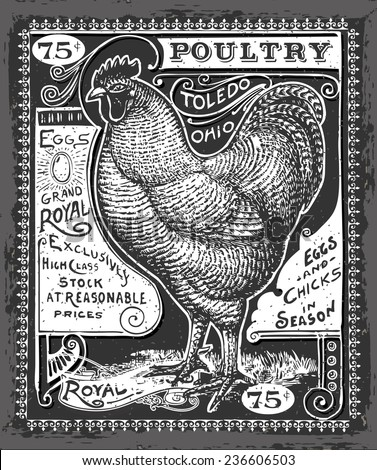 Detailed Illustration of a Vintage Poultry and Eggs Advertising on Blackboard  - stock vector