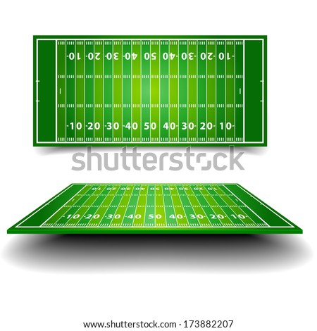 detailed illustration of an American Football field with different perspectives, eps10 vector - stock vector