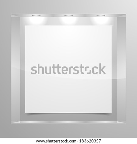 detailed illustration of an exhibition shelf with three lights, eps10 vector - stock vector