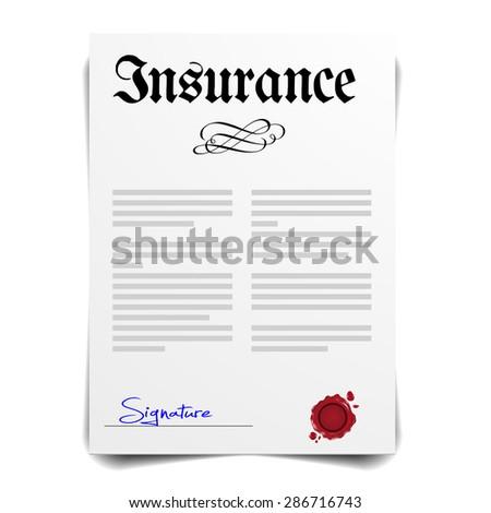 detailed illustration of an insurance letter, eps10 vector - stock vector