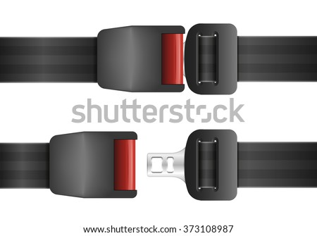 detailed illustration of an open and closed seatbelt, ep10 vector - stock vector