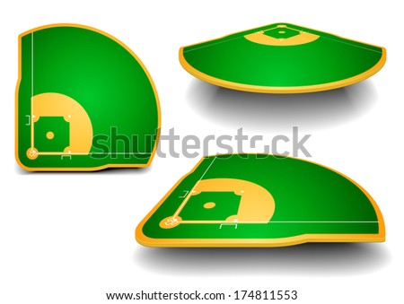 detailed illustration of baseball fields with perspective, eps10 vector - stock vector