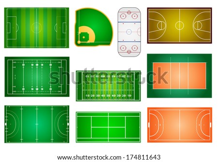 detailed illustration of different sport fields and courts, eps10 vector - stock vector