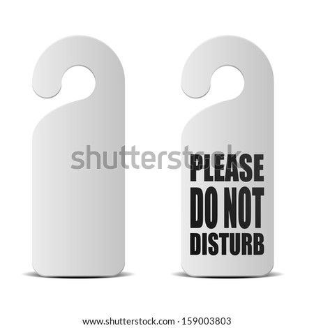 detailed illustration of do not disturb sheets used in hotels and motels - stock vector