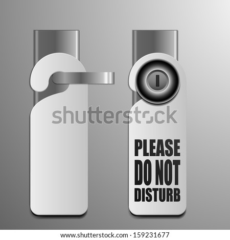 detailed illustration of do not disturb sheets with different door knobs used in hotels and motels - stock vector
