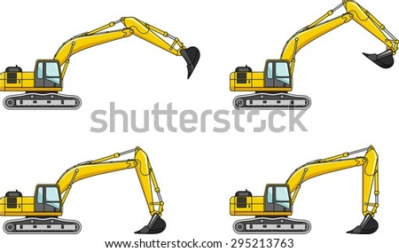 Detailed illustration of excavators, heavy equipment and machinery - stock vector