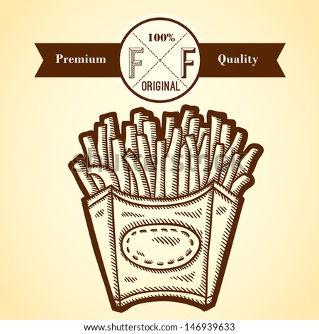 Detailed illustration of fast food in vintage style. Hand drawn. Isolated object on yellow background. Retro label. - stock vector