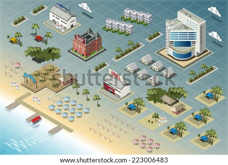 Detailed illustration of Isometric Seaside Buildings - stock vector