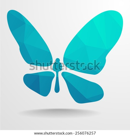 detailed illustration of polygonal butterfly, eps10 vector - stock vector