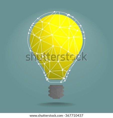detailed illustration of polygonal lightbulb with white network around it, eps10 vector - stock vector