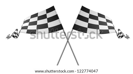 detailed illustration of racing flags on a white background - stock vector
