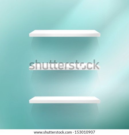 Detailed illustration of shelves on blue background. EPS 10 - stock vector