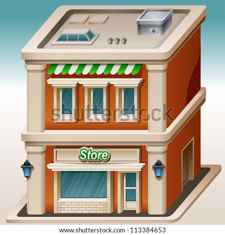 Detailed illustration of store icon - stock vector