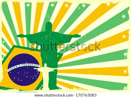 detailed illustration of the Jesus Statue of Rio de Janeiro in front of a grungy brazilian flag backbround, eps 10 vector - stock vector