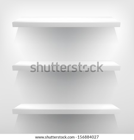 Detailed illustration of white shelves with light. + EPS10 vector file - stock vector