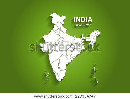 Detailed India Map on Green Background with Shadows (EPS10 Vector)  - stock vector