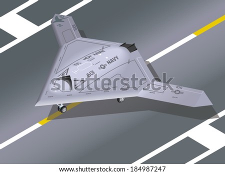 Detailed Isometric Illustration of an X-47B unmanned aircraft - stock vector