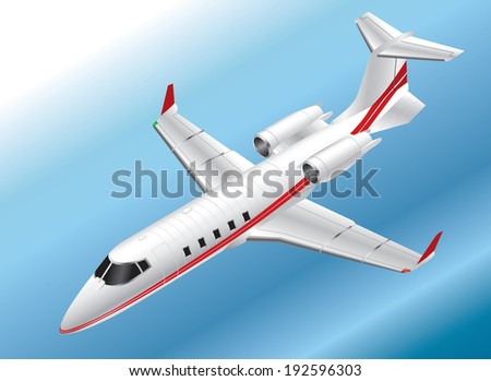 Detailed Isometric Vector Illustration of a Learjet 60 - stock vector