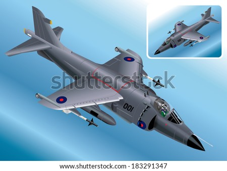 Detailed Isometric Vector Illustration of a Royal Navy Sea Harrier - stock vector