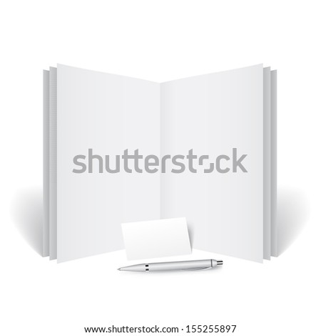 Detailed journal with a business card - stock vector