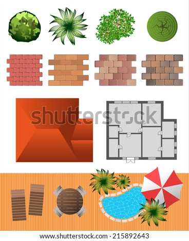 Detailed landscape design elements. Make your own plan. Top view - stock vector