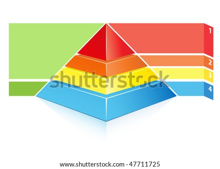 detailed layered hierarchical pyramid illustration with place for your text - stock vector