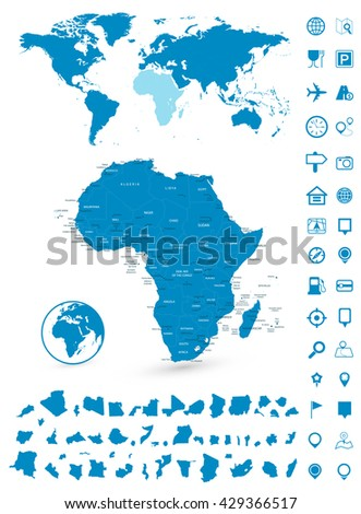Detailed map of Africa and World map navigation set. Vector illustration. - stock vector