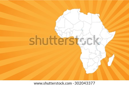 Detailed Map of Africa - Vector Background Illustration - stock vector