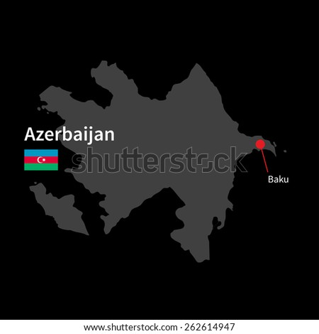 Detailed map of Azerbaijan and capital city Baku with flag on black background - stock vector